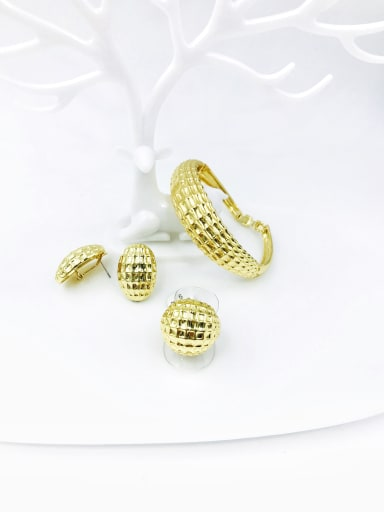 Gold Zinc Alloy Minimalist  Ring Earring And Bracelet Set