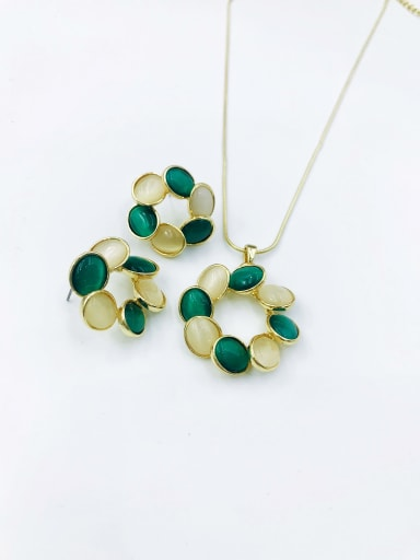 gold+green&white stone Statement Geometric Zinc Alloy Cats Eye White Earring and Necklace Set