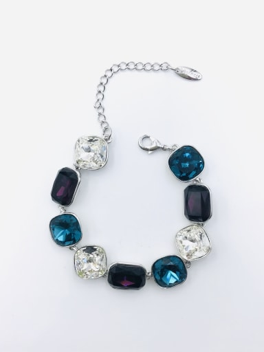 IMITATION RHODIUM+BLUE+PURPLE+CLEAR Zinc Alloy Glass Stone Multi Color Geometric Trend Bracelet