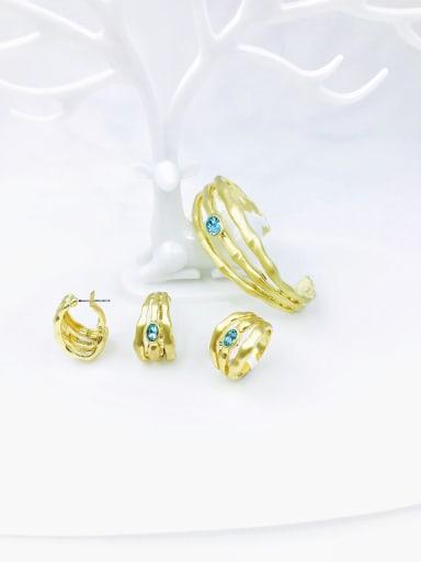 Blue Zinc Alloy Glass Stone Blue Minimalist Irregular  Ring Earring And Bracelet Set