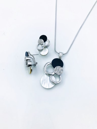 Silver Classic Geometric Zinc Alloy Shell White Acrylic Earring and Necklace Set