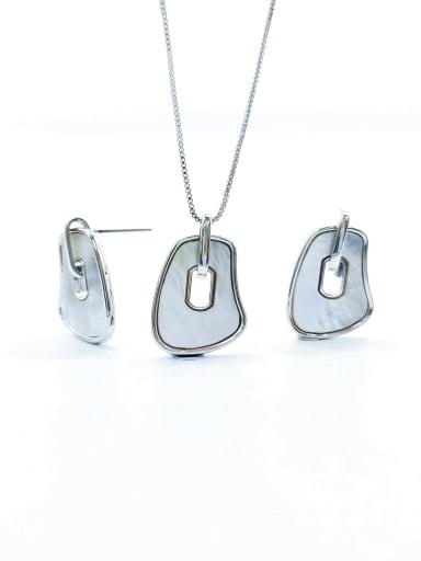 imitation rhodium Minimalist Irregular Brass Shell White Earring and Necklace Set
