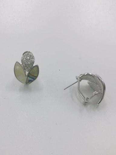 Silver Zinc Alloy Shell Multi Color Irregular Trend Clip Earring