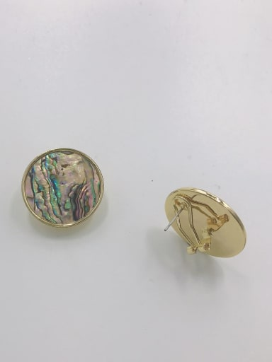 Gold Zinc Alloy Shell Multi Color Round Minimalist Clip Earring