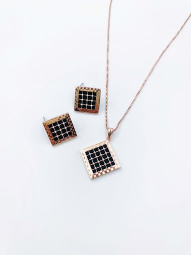 Rose Minimalist Square Brass Imitation Pearl White Acrylic Earring and Necklace Set