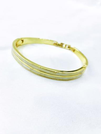 Gold Zinc Alloy Shell White Minimalist Band Bangle