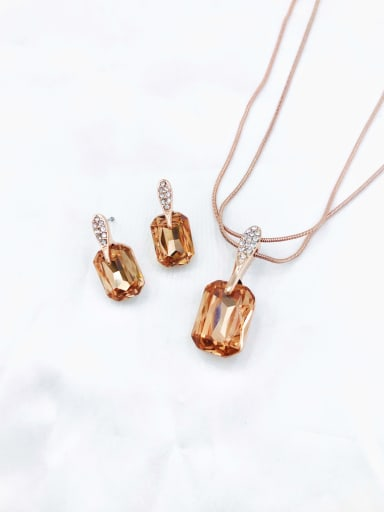 champagne Classic Geometric Zinc Alloy Glass Stone Champagne Earring and Necklace Set