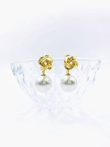 White Brass Imitation Pearl White Irregular Classic Drop Earring