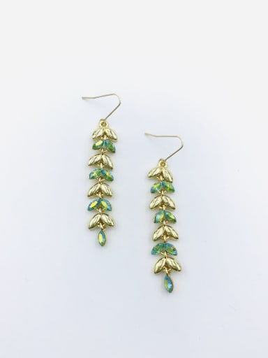 Gold Zinc Alloy Swarovski Crystal Multi Color Leaf Dainty Hook Earring