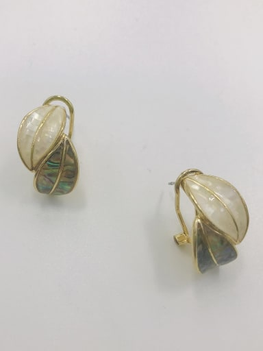 Gold Zinc Alloy Shell Multi Color Leaf Trend Clip Earring