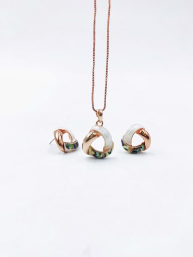 Rose Minimalist Triangle Zinc Alloy Shell Multi Color Earring and Necklace Set