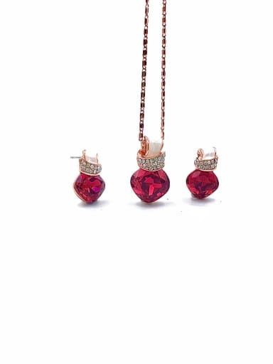 Red Minimalist Irregular Zinc Alloy Glass Stone Red Earring and Necklace Set