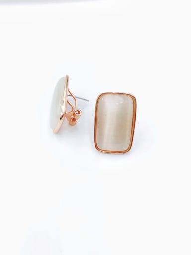 Rose Brass Cats Eye White Rectangle Minimalist Clip Earring
