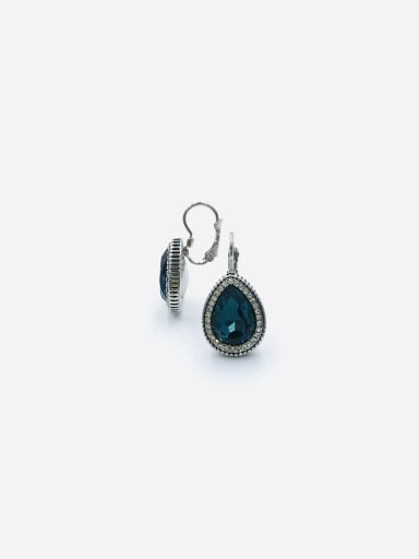 Blue Zinc Alloy Glass Stone Clear Water Drop Classic Huggie Earring