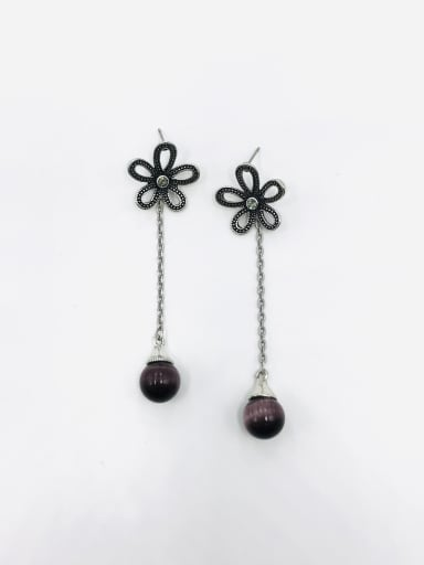 Silver Zinc Alloy Cats Eye Purple Flower Vintage Drop Earring