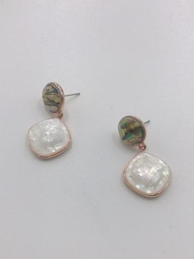 Rose Zinc Alloy Shell Multi Color Round Minimalist Drop Earring