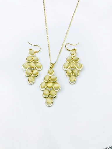 Gold Trend Geometric Zinc Alloy Cats Eye White Enamel Earring and Necklace Set