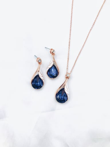 rose gold+purple stone Trend Water Drop Zinc Alloy Glass Stone Blue Enamel Earring and Necklace Set