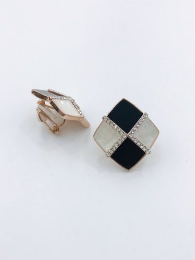 Rose Zinc Alloy Shell White Acrylic Geometric Trend Clip Earring