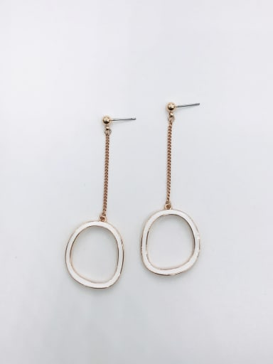 ROSE GOLD+WHITE Zinc Alloy Enamel Geometric Minimalist Drop Earring