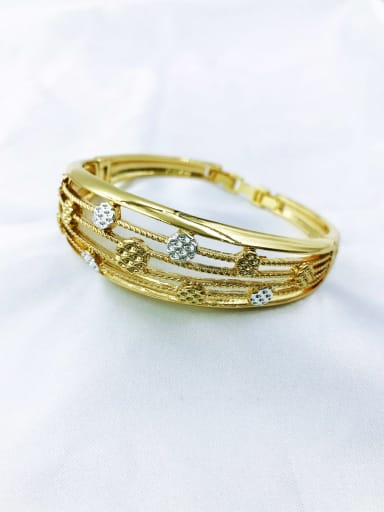 gold+silver Zinc Alloy Geometric Trend Band Bangle