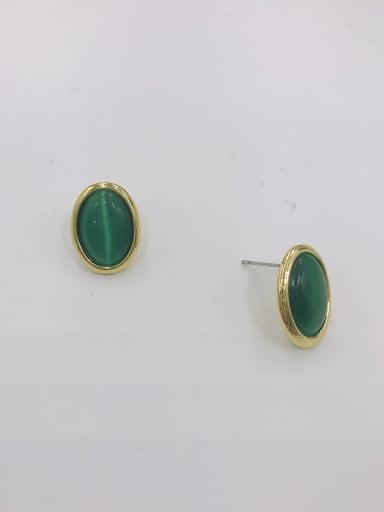 GOLD+GREEN Zinc Alloy Cats Eye White Oval Minimalist Stud Earring