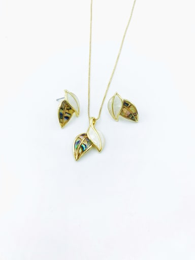 Gold Minimalist Leaf Zinc Alloy Shell Multi Color Earring and Necklace Set