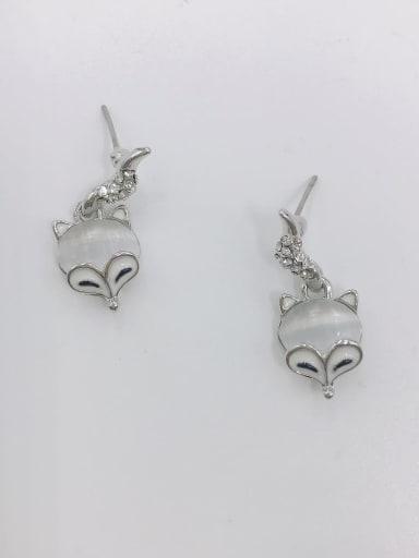 Silver Zinc Alloy Cats Eye White Enamel Fox Cute Drop Earring