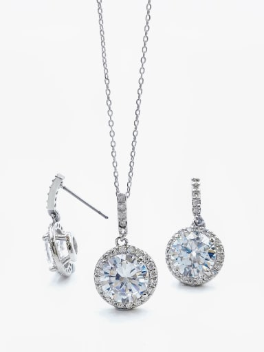 Silver Minimalist Round Brass Cubic Zirconia Clear Earring and Necklace Set