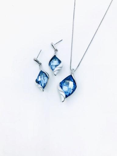 imitation rhodium+light blue glass Trend Irregular Zinc Alloy Glass Stone Red Enamel Earring and Necklace Set