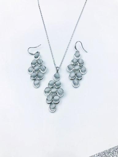 Silver Trend Geometric Zinc Alloy Cats Eye White Enamel Earring and Necklace Set