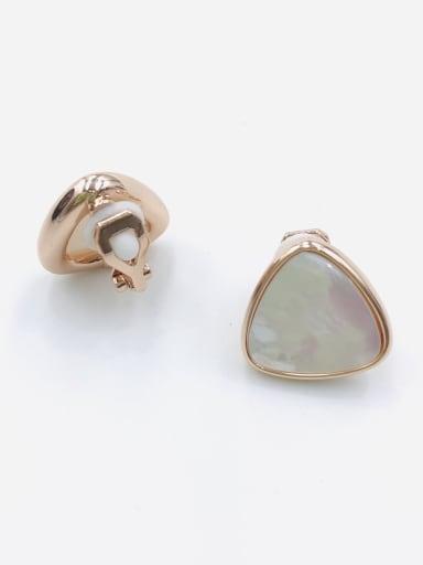 Rose Zinc Alloy Shell White Triangle Minimalist Clip Earring