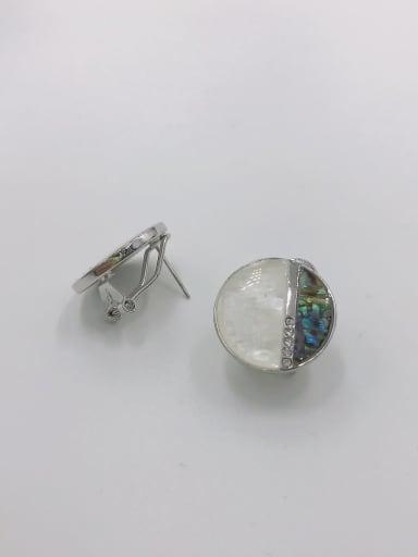 Silver Zinc Alloy Shell Multi Color Round Minimalist Clip Earring