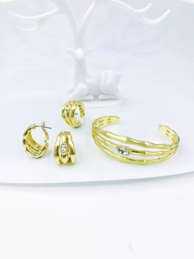 Clear Zinc Alloy Glass Stone Blue Minimalist Irregular  Ring Earring And Bracelet Set