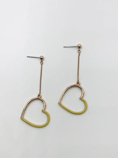 ROSE GOLD+KHAKI Zinc Alloy Enamel Heart Minimalist Drop Earring