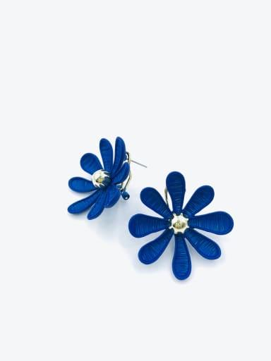 Blue Zinc Alloy Flower Statement Clip Earring