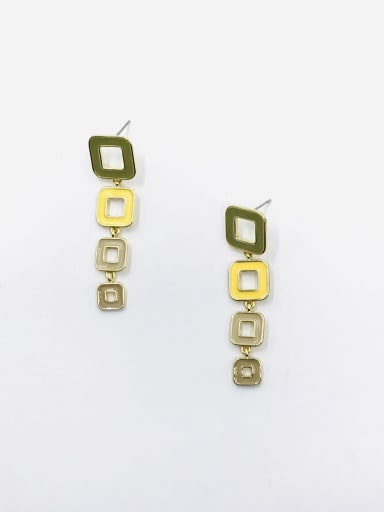 GOLD+ARMY GREEN+YELLOW+KHAKI+LIGHT BROWN Zinc Alloy Enamel Geometric Minimalist Drop Earring