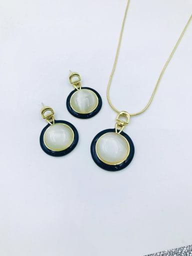 Black Classic Round Zinc Alloy Cats Eye White Enamel Earring and Necklace Set