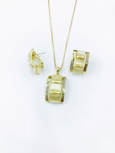 Gold Classic Rectangle Zinc Alloy Cats Eye White Earring and Necklace Set