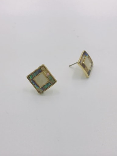 Gold Zinc Alloy Shell Multi Color Square Minimalist Stud Earring