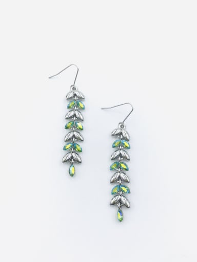 Silver Zinc Alloy Swarovski Crystal Multi Color Leaf Dainty Hook Earring