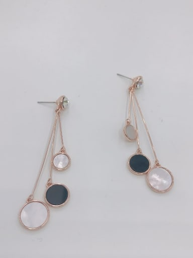 Rose Zinc Alloy Shell White Acrylic Round Trend Drop Earring