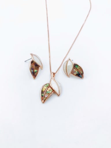Rose Minimalist Leaf Zinc Alloy Shell Multi Color Earring and Necklace Set
