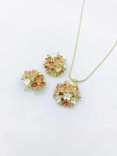 Pink Statement Flower Zinc Alloy Rhinestone Clear Enamel Earring and Necklace Set