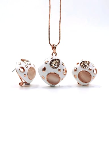 rose gold+champagne glass stone Trend Geometric Zinc Alloy Cats Eye White Enamel Earring and Necklace Set