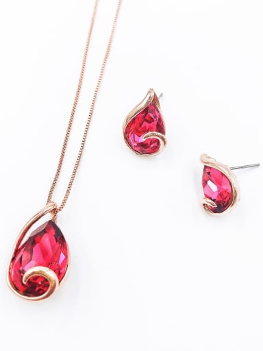 Red Minimalist Water Drop Zinc Alloy Glass Stone Pink Earring and Necklace Set