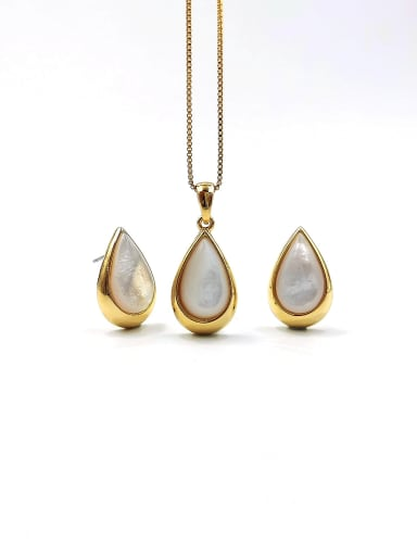 Gold Minimalist Water Drop Zinc Alloy Shell White Earring and Necklace Set