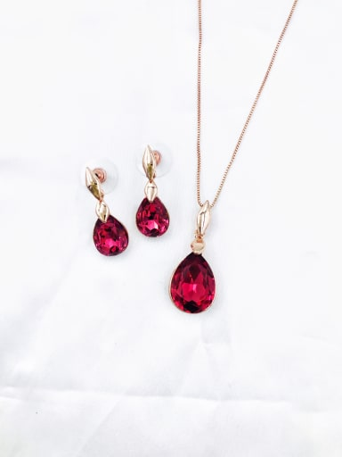Red Minimalist Water Drop Zinc Alloy Glass Stone Red Earring and Necklace Set