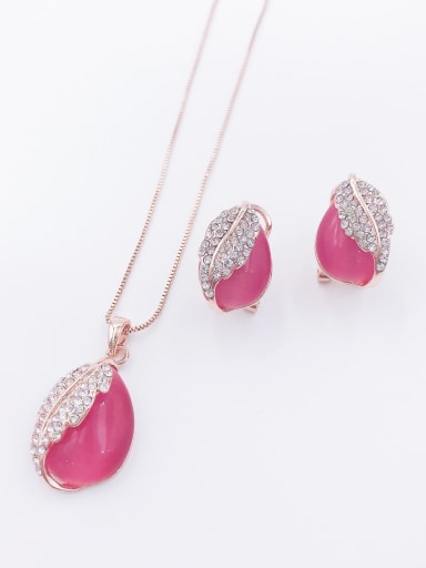 Red Dainty Water Drop Zinc Alloy Cats Eye White Earring and Necklace Set