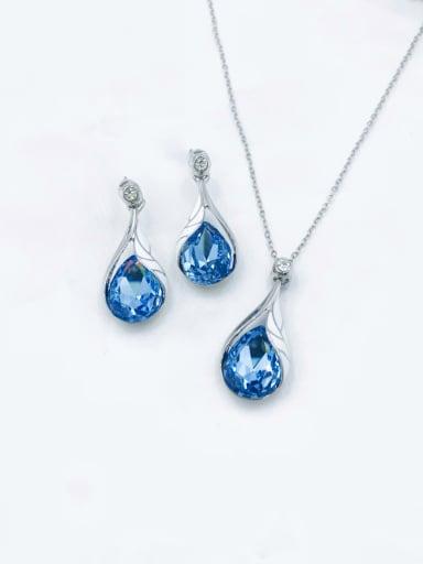 Imitation rhodium+blue Trend Water Drop Zinc Alloy Glass Stone Blue Enamel Earring and Necklace Set